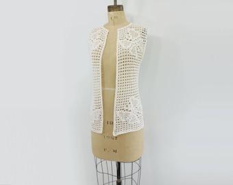 sale Vintage Crochet Vest Boho Lace Vest Crochet White Vest 60s Butterfly Vest White Crochet Vest Crochet Lace Vest Boho White Vest xs, s