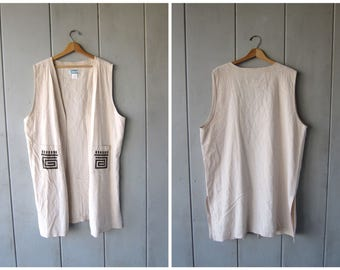 Natural Linen & Rayon Vest Top 90s Minimal Tribal Indian Southwestern Design Blouse Slouchy Sleeveless Long Open Shirt DES Vintage Womens XL