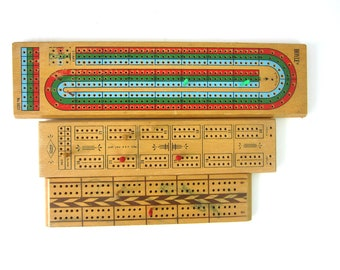 Cribbage Game Boards Vintage Collection of Wood Cribbage Boards Retro Decor Photo Prop Display Set of 3