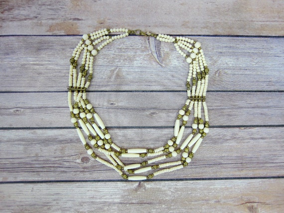 Off White Multi Strand Necklace CHOKER Jewelry Statement Piece Beaded Cream Gold Bead Necklace Women's Accesory Piece Costume Jewelry