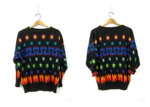 Oversized Graphic Knit Sweater 1980s Retro Black Southwestern Tribal Pullover Sweater Long Baggy Fit Women's Medium Large
