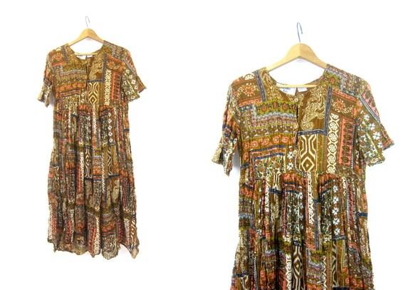 Vintage BOHO Ethnic Long Slip Dress Cotton Guaze India dress Brown Ochre SunDress Earthtone Print Made in India Womens Large