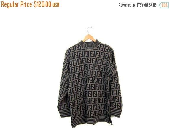 Vintage 80s 90s FENDI Sweater Roma Italy Designer Sweater Black Brown Mock Neck F Monogram Overprint Sweater Top Italian Wool Cotton Sweater