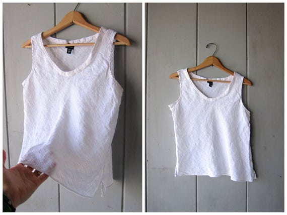 90s Eileen Fisher linen tank top White sleeveless blouse Minimal modern boxy tank Slouchy loose fit Sheer Tank DES Vintage Womens Large