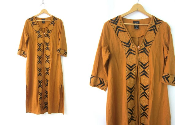 Long Indian Ethnic Dress Golden Brown Tribal Embroidered Stitched Layering Gown Boho Open Fit Tunic Women's Size 12 Medium Large