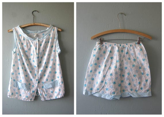 vintage 2 Piece Pajama set Blue & White Checker Clovers Print Women's Top and Bloomer Shorts PJS 1950's retro lounge wear Louanne's Small