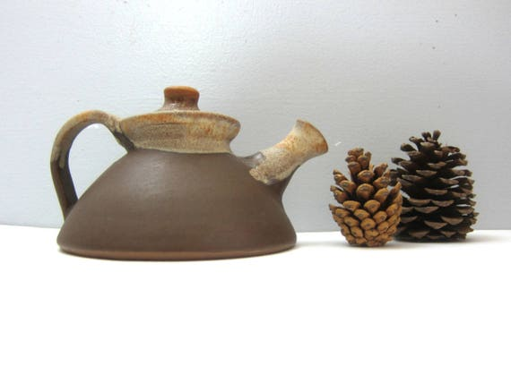 Ceramic Teapot Vintage 1980s Earthy Brown Pottery Retro Kitchen Rustic Home Decor Modern Ranch Home Serving Coffee Tea GS