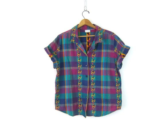 Vintage Embroidered button up shirt Green & Purple Plaid Summer shirt Cotton Oxford Top Button Down Tee Shirt GS Womens Size Large