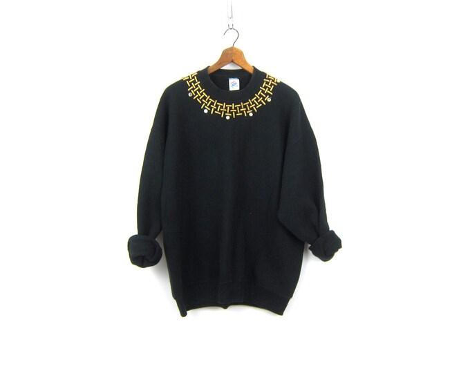 Oversized Black Retro Sweatshirt Vintage Long Black Baggy Grunge Sci Fi Punk Bedazzled Novelty Tunic Sweater size XL
