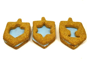 Gourmet Dog Treats - Hanukkah Sandwich Cookies - All Natural Dog Treats Organic Cookie Sandwiches - Shorty's Gourmet Treats