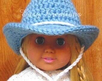 CROCHET PATTERN, 18in Doll Cowboy Hat, Cowgirl Hat, Designed to fit 18in Dolls, Doll Clothes, skill level intermediate