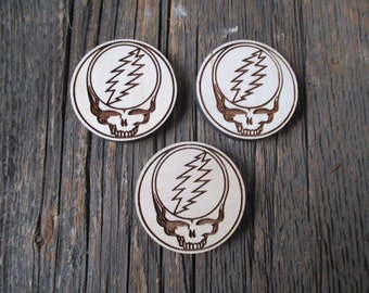 Grateful dead pins or magnets - Jerry Garcia - Wooden Pin - Wooden Magnets - Stealie - Stealie Magnet - Laser Engraved Wood - Dancing Bear