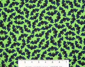 Halloween Fabric - Bats Toss on Lime Green C3375- Timeless Treasures YARD