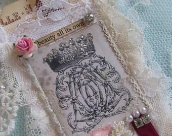 French Crown Gift Tag,  Mixed Media Tag,  Handmade Gift Tag,  Paris Gift Tag,  Lace Gift  Tag