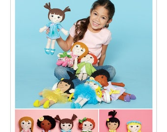 CLOTH DOLL PATTERN / Soft Stuffed Cloth Girl Dolls With Clothes / 4 Outfits - Shoes - 5 hair Styles