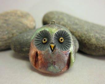 Owl...Raku Pendant...Copper Patina