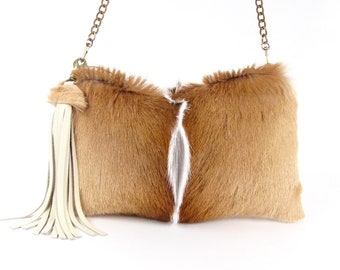 Brown Fur Handbag ~ Springbok Clutch ~ Beige leather Bag ~ Fur Bag ~ Springbok Leather Bag ~ Springbok Cross Body ~ Genuine Fur Bag ~ Plush