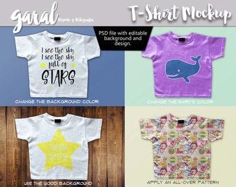 T-SHIRT MOCKUP, PSD file, editable, Apparel display, white shirt, wood background, short sleeve kids shirt