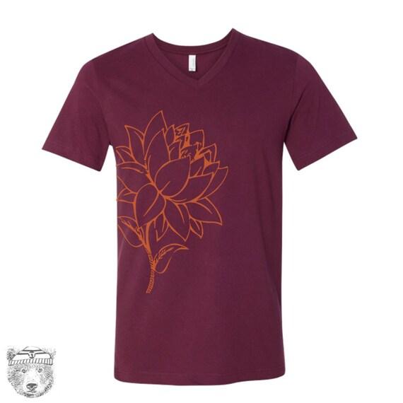Unisex V-Neck LOTUS FLOWER  Vintage Soft T Shirt xs s m l xl xxl (+Colors)