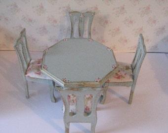 Dollhouse table, hexagon table, four  chairs, round  table and chairs, Dollhouse table set,  one twelfth scale, dollhouse miniature