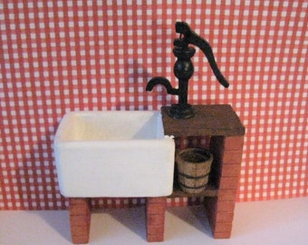 Dollhouse sink, Country style sink, stone sink ,kitchen accessories, Kitchen pump, kitchen bucket, a twelfth scale dollhouse miniature