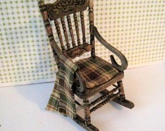 Dollhouse  rocker, country rocker, rocking chair, dark oak chair,  miniature chair, chair, twelfth scale, one to one