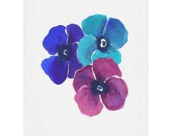 Jewel Tone Pansies Watercolor Print