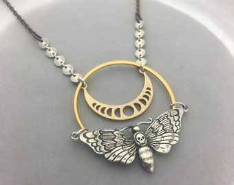 Skull Moth and Moon Phase Talisman Necklace