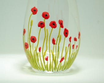 Red Poppies - 15 oz handpainted stemless white wine glass