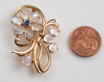 Elegant and Whimsical 14kt Yellow Gold Brooch:  Ten Matched Moonstones, Deep Blue Sapphire - Floral Design c.1950's