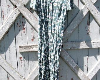 1990s Pret E Collection green floral dress M L