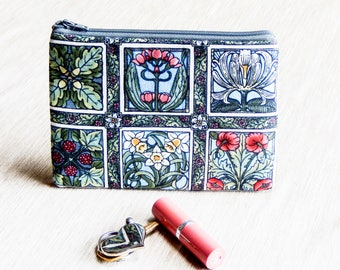 Mothers Day Gift, Gift for Her, Teacher Gift, Grad Gift, Floral Zipper Pouch, Make Up Case, Art Nouveau Botanicals Pouch, Coin Purse
