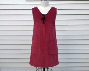 Janis Corduroy dress with lace up detail- Medium