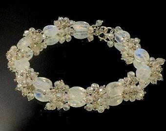 Wedding Bracelet Wire Wrap Mystic Moonstone Bracelet Gem Cluster Dangle Bracelet Bridal Jewelry Beach Wedding Oval Moonstone Sterling Silver