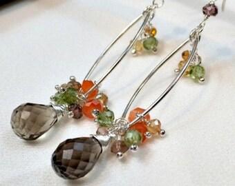 50% SALE Multicolor Gem Silver Hoop Earrings Wire Wrap Gem Dangle  Stone Cluster Sterling Silver Garnet Citrine, Smokey Quartz Carnelian, Ol