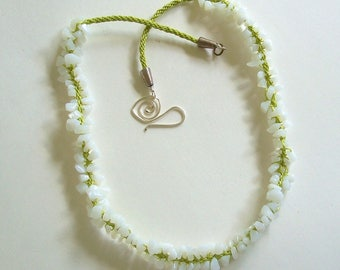 Hand Woven Kumihimo Rope with Lime Green Cord and White Quartz Chips by Carol Wilson of Je t'adorn