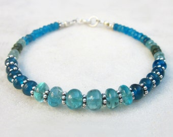 Apatite gemstone bracelet, neon blue & green multi stone bracelet, chic stacking bracelet, dainty bead bracelet with sterling silver accents