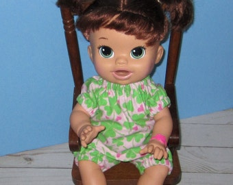 Snackin Sara, Baby Alive, Shamrock Irish Pajamas,   Fits 15 16 Inch Doll,   Doll Clothes, Handmade Made in USA