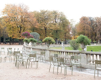 Paris Photography, Autumn in Jardin du Luxembourg, Fall leaves in Paris, Paris Decor, Fall Photography,Paris Garden,Nature, Rebecca Plotnick
