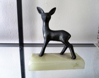Vintage-Brass-Deer-Figurine-Marble-Base-Paper-Weight