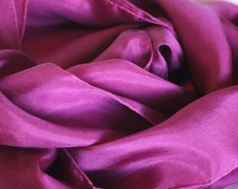 INVENTORY REDUCTION SALE - Burgundy Silk Scarf 14X72 - Great Gift - Low Shipping Costs