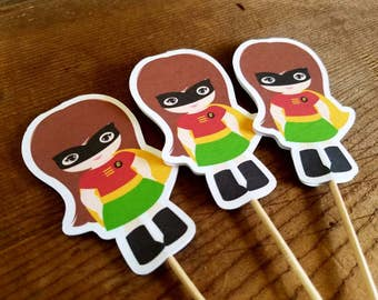 Superhero Girls Party Collection - Set of 12 Robin Girl Cupcake Toppers by The Birthday House