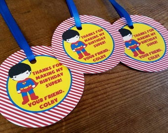 Superhero Friends Party - Set of 12 Superman Personalized Favor Tags by The Birthday House