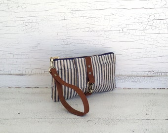 Navy Ticking Stripe Waxed Canvas & Brown Leather Smartphone Wallet, Wristlet, Clutch, Organizer, iPhone 6 Plus Wallet