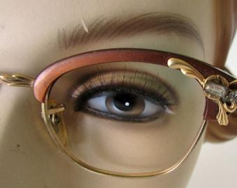 Vintage Cat Eye Glasses Eyeglasses Frames 12K Gold Filled Bronze Colored Frames with gold and rhinestone Trim