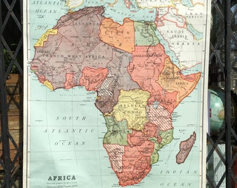 1937 Nystrom Vintage School Map of Africa Roll Up Pull Down Classroom Wall Map Hemispheres