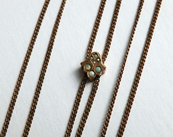 Victorian Opal Seed Pearl Watch Slide Chain Necklace