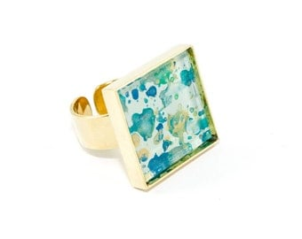Splatter Painted Adjustable Ring - Acrylic in Square Brass Ring - Caribbean Waters Colorway: Aqua, Green, Blue, Gold