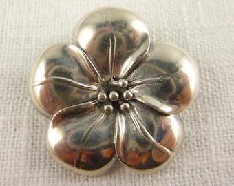 Vintage Sterling Detailed Flower Blossom Brooch/Pendant