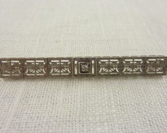 Antique Art Deco 14K White Gold Filigree Bar Pin with Diamond and Makers Mark